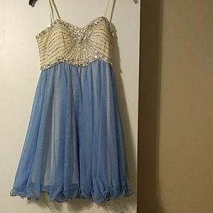 Tan & Blue diamond strapless dress